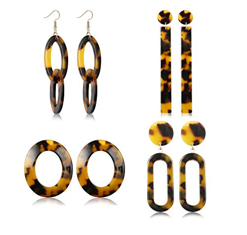 (LOLIAS 4-9 Pairs Acrylic Hoop Drop Statement Earrings for Women Resin Fashion Jewelry)