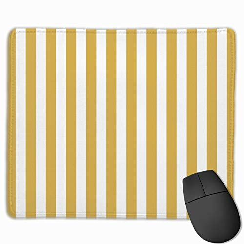 - Large Mustard Yellow and White Cabana Tent Stripe Mouse Pad Non-Slip Rubber Base Gaming Mousepad for Office Computer Laptop
