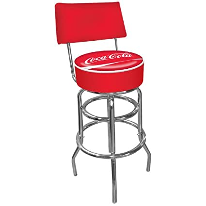 Amazon Com Coca Cola Padded Swivel Bar Stool With Back Sports