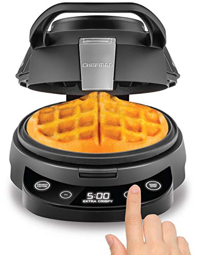 Chefman Perfect Pour Volcano Belgian Maker, Round Iron for Mess-Free Waffles Programmable Presets & Digital Touchscreen Display, Nonstick Plates, Cleaning Tool & Measuring Cup Included
