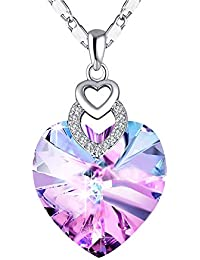 3 Heart Pendant Necklace with Crystals from Swarovski for Women Girl Dainty Jewelry Gift Anniversary Wife Birthday Lover Sweetheart Valentines Day Mothers