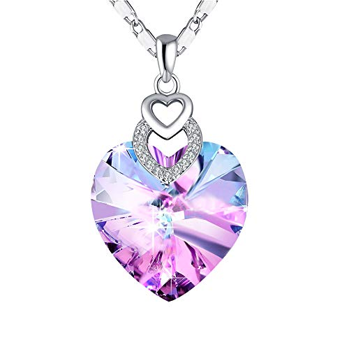- PLATO H Heart Color Changing Necklace, Pink Crystal Heart Birthstone Necklace, Swarovski Crystal Necklace, for Mom, Purple Pink Heart Necklace, Heart Crystal Necklace