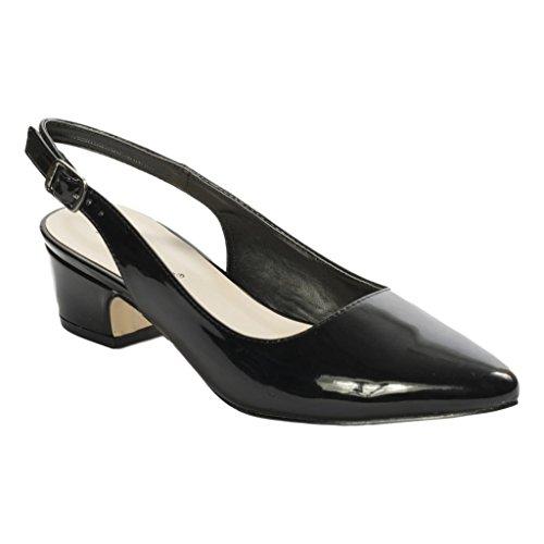 Pierre Dumas Women's Elissa-2 Vegan Leather Pointed Toe Slingback Fashion Dress Flats Shoes, Black Patent, 9 B(M) US