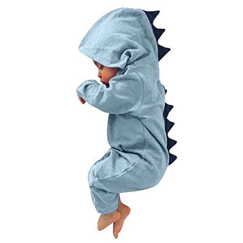 Yamally_9R_Unisex Rompers Baby Dinosaur Hooded Jumpsuit Newborn Baby Boys Girls Cartoon Dinosaur Hoodie Romper (3-6 Months, Blue #2) -
