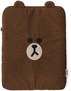 Line Friends Brown Character Tablet Sleeve Bag Case Cover, Compatible with 10 Inch iPad Air, iPad Pro, Galaxy Tab, Brown