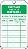 Accuform Signs TRS245CTP Inspection Record Tag, Legend EYE WASH STATION INSPECTION, 5.75'' Length x 3.25'' Width x 0.010'' Thickness, PF-Cardstock, Green on White (Pack of 25)