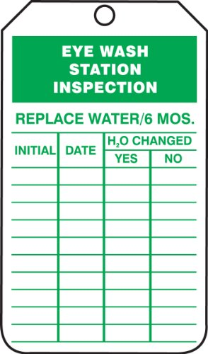Accuform Signs TRS245CTP Inspection Record Tag, Legend EYE WASH STATION INSPECTION, 5.75