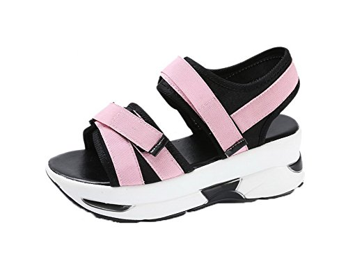 VogueZone009 Women Assorted Colors Fabric Open-Toe Hook-and-Loop Sandals Pink