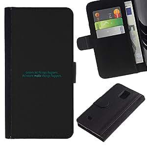 Paccase / Billetera de Cuero Caso del tirón Titular de la tarjeta Carcasa Funda para - Teal Text Inspiring Funny Minimalist - Samsung Galaxy Note 4 SM-N910