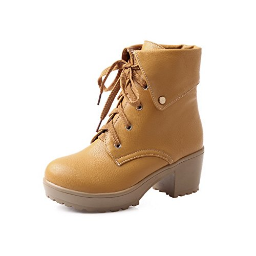 runde geschlossene PU Heels Top Low Frauen Stiefel Solide Gelb AgooLar Zehe Kitten Bz0q5Effwx
