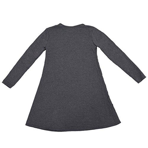 TOOGOO(R)Ropa femenina Blusa de Sueter de division de talla mas grande Vestido de pulover suelto de punto de otono Gris Oscuro XXL