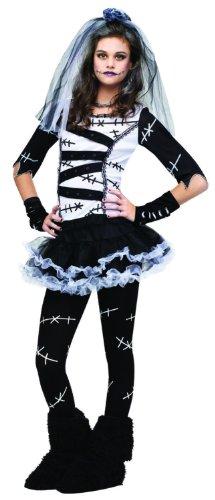 Bride Costume With Tutu (Fun World Costumes Women's Monster Bride Teen Costume, White/Black, One Size)
