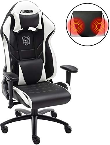 Gaming Chair Racing Style Swivel Computer Gamer Chair with Fully Foam, Esports Video Game Chair, PU Leather Executive Office Chair with Lift Headrest and Lumbar Support White