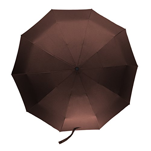 Travel Compact Umbrella Windproof Auto Open Close Button 10 Ribs (Brown)