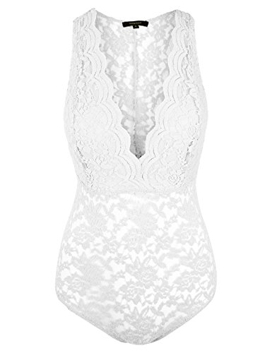- makeitmint Women's Floral Lace Low V-Neck Sleeveless Bodysuit w/Snap Buttons YOB0018-IVORY-MED