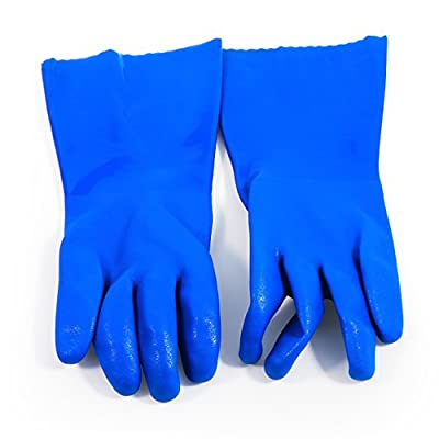 Camco Durable All Purpose RV and Camper Reusable Sanitation Gloves - Will Grip in Wet or Dry Conditions | Blue PVC Gloves - 1 Pair (40287)