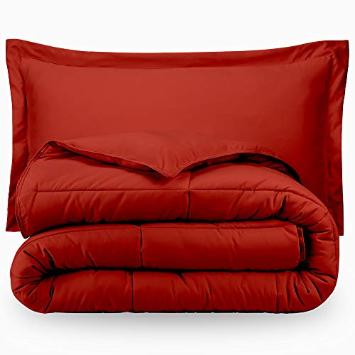 Bare Home Ultra-Soft Premium 1800 Series Goose Down Alternative Comforter Set - Hypoallergenic - All Season - Plush Siliconized Fiberfill (Full/Queen, Red) by Bare Home
