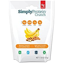SimplyProtein Crunch, Banana Caramel and Cashew Nuts, Pack of 12, Gluten Free