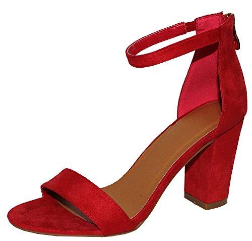 Cambridge Selezionare Donna Open Toe Fascia Singola Stretch Caviglia Strappy Grosso Blocco Sandalo Tacco A Blocchi Rosso Imsu