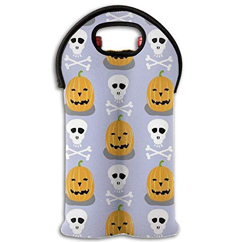 Wine Tote Carrier Bag White Skull and Smile Pumpkin Purse for Champagne,Water Bottles Design6