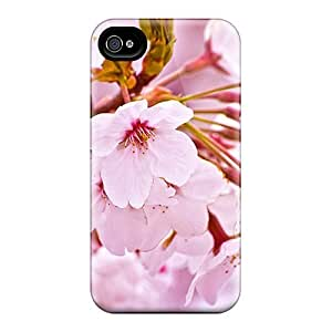 Slim Fit Tpu Protector Shock Absorbent Bumper Cherry Blossoms Case For Iphone 4/4s