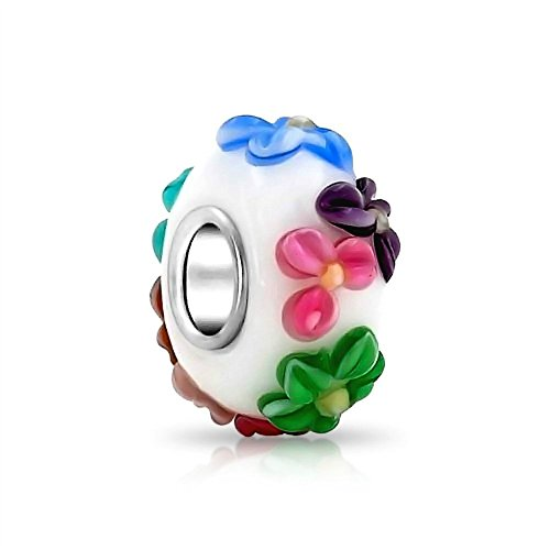 3D Multicolor Flower Murano Glass Charm 925 Sterling Silver Bead Fit Pandora Charms