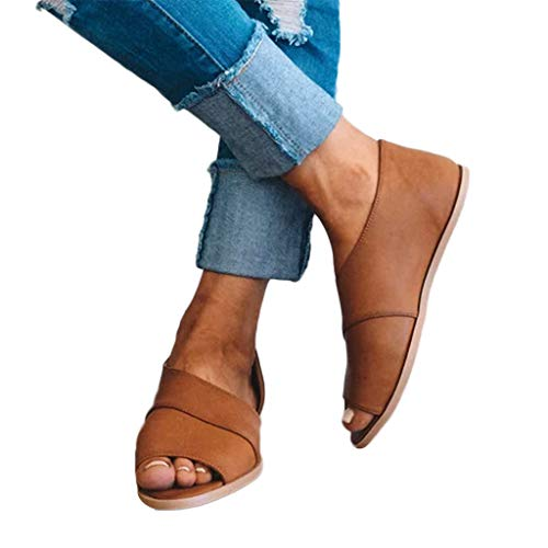 BEAUTYVAN Women's Boots,Retro Peep Toe Cut Out Rome Beach Flat Sandals Casual Walking Brown Shoes ()
