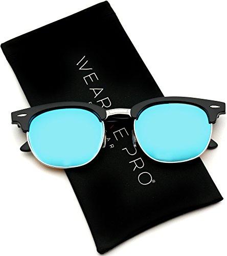 d5f7b0258b WearMe Pro - Half Frame Retro Semi-Rimless Style Sunglasses Retro Mirror  Lens Sunglasses - Buy Online in Oman.