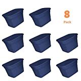 Storage Totes with Lid, Large Plastic Heavy Duty Reusable Bin Containers - Case of 8, 18 Gallon Each - for Move Closet Garage Desk Shelves Clothes Books Basement - Dark Navy Blue, 24 L x 18 W x 15' H