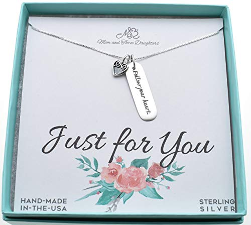 Follow Your Heart necklace in sterling silver on an 18 inch sterling silver Box Chain with 4
