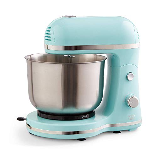 Delish by Dash Compact Stand Mixer 3.5 Quart with Beaters & Dough Hooks Included - Aqua, DCSM350GB (Renewed)