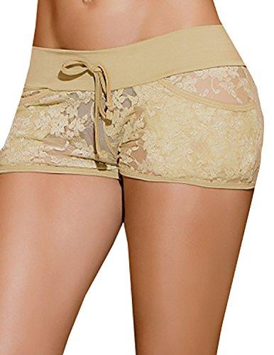 SJINC Women's Sexy Lace Panties Floral Mesh Sheer Trim Stretchy Lingerie Hipster, Khaki, TagsizeXL=USsizeL