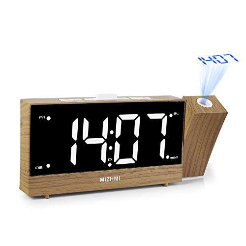 MIZHMI Projection Alarm Clock Dual Alarms with FM Radio Usb Charging Dimmer 5.5'' LED 12/24 Hour Display and Dimming Nap/Sleep Timer Snooze Function by MIZHMI