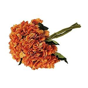 EZFLOWERY 5 Pcs Artificial Silk Hydrangeas Flowers Bouquet Arrangement, for Home Decor, Wedding, Office, Room, Hotel, Event, Party Decoration (Sunset) 49