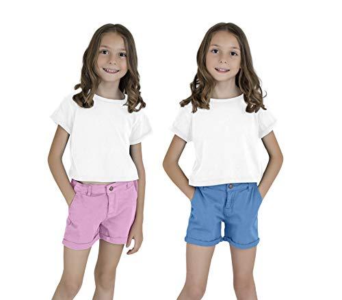 - KIDPIK Classic Shorts 2PACK-4-Azure Blue/Orchid Bouquet