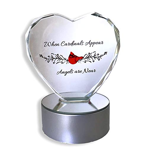 Cardinal Glass Mirror - BANBERRY DESIGNS Light up LED Memorial Heart - When Cardinals Appear Angels are Near - Etched Faceted Glass Heart on LED Multi Colored Lighted Base