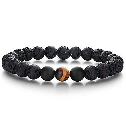 (Mikash Luxury Men 8mm Matte Onyx Stone Inlay CZ Balls Charm Beaded Stretch Bracelet Set | Model BRCLT - 9209)