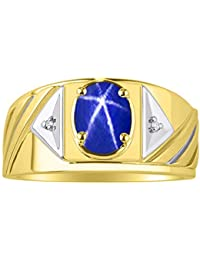 Mens Ring with Oval Shape Gemstone & Genuine Sparkling Diamonds in 14K Yellow Gold Plated Silver .925-8X6MM Color Stone