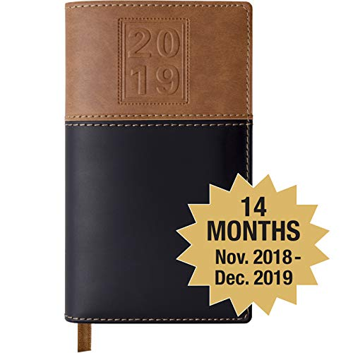 2019 Pocket Planner/Pocket Calendar: Includes 14 Months (November 2018 to December 2019) / 2019 Weekly Planner/Weekly Agenda/Monthly Calendar Organizer (Black/Brown - Pack of 1)