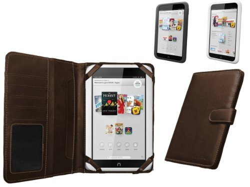 "Navitech Brown Faux Leather Case Cover Sleeve Compatible with The Nook HD 7"" inch ereader Tablet"