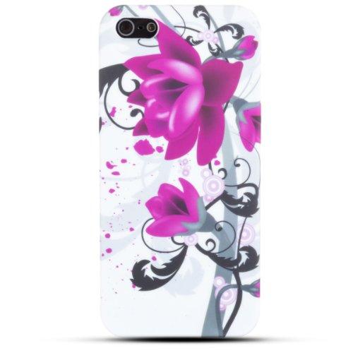 Zooky® lila TPU Blume Schutzhülle / Hülle / Cover für Apple iPhone 5 / 5S