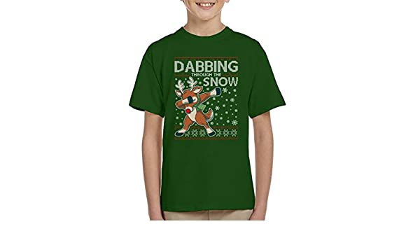 Coto7 Dabbing Through The Snow Panda Christmas Knit Pattern Kids Sweatshirt