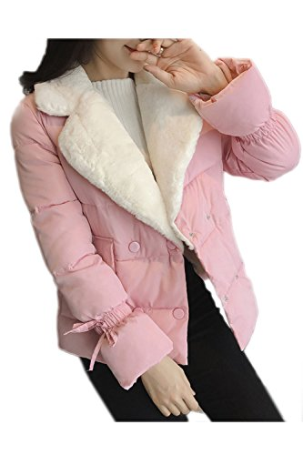 De Outcoat Warm Pink Fleece La JACKET BLAZER Boton Winter Solapa Mujer Casual q6vxRvtS