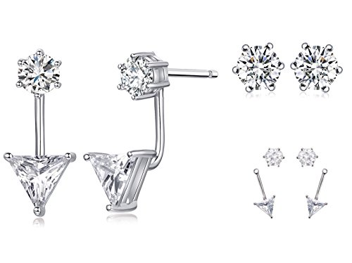 Sterling Silver Ear Jacket Round Triangle Two-way Cubic Zirconia AAA Quality Stud Earring Set