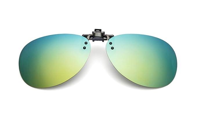 UK1stChoice-Zone Hombre Mujer Unisex Flip-up Polarizado Clip en Las Gafas de Sol CLIPON1304 (Oro Mercurio)