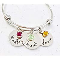 10a26e7adae12 Personalized Bangle Bracelet Mothers Day Birthstone Names