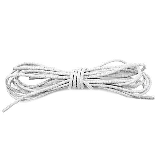 DailyShoes Women Round Waxed Shoelaces Oxford Flat Dress Canvas Shoe Laces, (Great for Fabric Shoes), (ONE PAIR), Ivory, 27