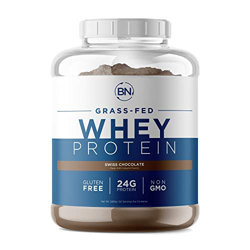 Grass Fed Whey Protein Chocolate 5lb - 100% Pure and Natural - 5lb/60 Servings - 24g Protein - Cold Processed Undenatured - Non-GMO - rBGH-Free - Happy Healthy Cows USA
