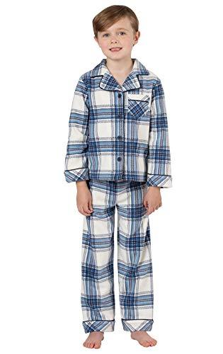 PajamaGram Winter Snow Plaid Fleece Kids Button Front Pajamas - Blue -
