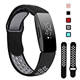 Lintelek Replacement Bands Compatible with Fitbit Inspire HR,Soft Friendly Silicone Wristband,Washable Breathable Straps for Sports Women Men,Small Large